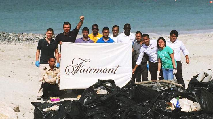 Beach clean-up day by Fairmont Ajman