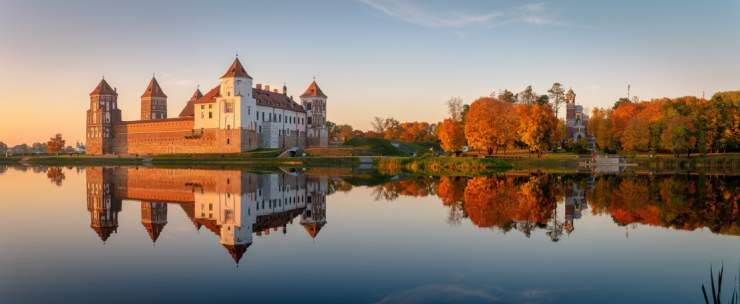 Mir castle in the sunset light, Belarus